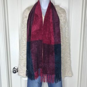 Jeweled Tone Fringed Scarf Magenta Blue